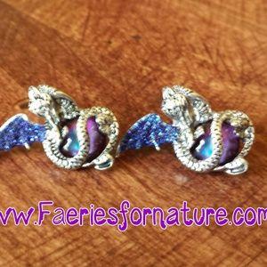 Jewelry - Glitter/Galaxy Dragon Stud Silver Earrings